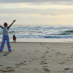 Woman in ski gear on beach in the Gold Coast