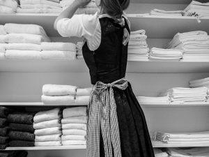 Woman ordering towels