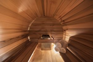 Chalet Valentine has been nominated for Best Ski Chalet in France at the World Ski Awards 2017. Her the sauna room which is in the shape of a barrel