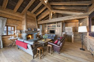 Switzerland's Best Ski Chalet nominee: lush furnishings in the living room