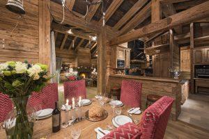 Switzerland's Best Ski Chalet nominee: Mon Izba in Verbier dining room and kitchen