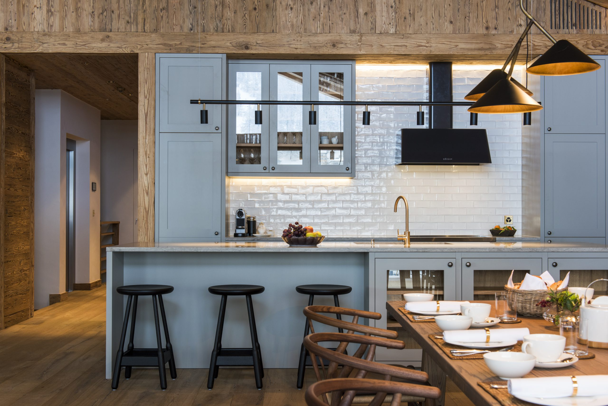 Beautiful kitchen design in ski chalet Zermatt