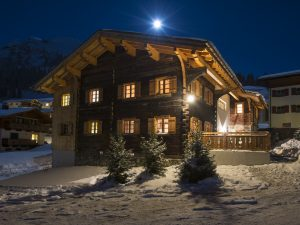 Chalet 1597 in the snow at night