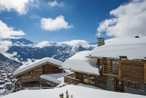Switzerland's Best Ski Chalet nominee. Exterior of Sirocco in Verbier illustrating the fantastic views from the chalet