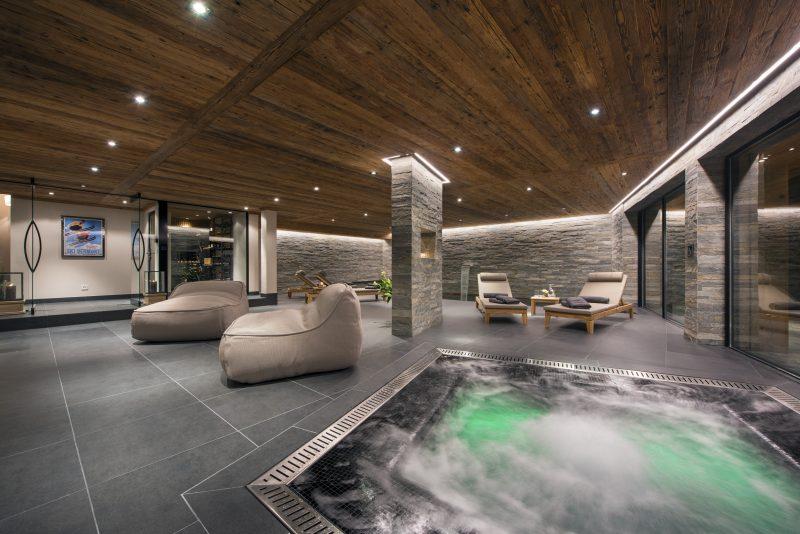 Switzerland's Best Ski Chalet nominee: Sirocco in Verbier has an indoor spa with indoor hot tub and indoor swimming pool
