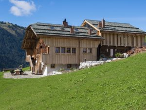 Luxury chalet on the mountainside in summer