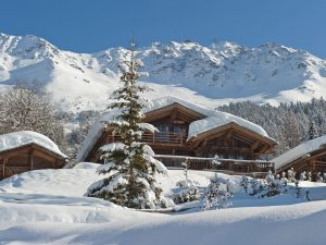 Snow covered luxury ski chalet