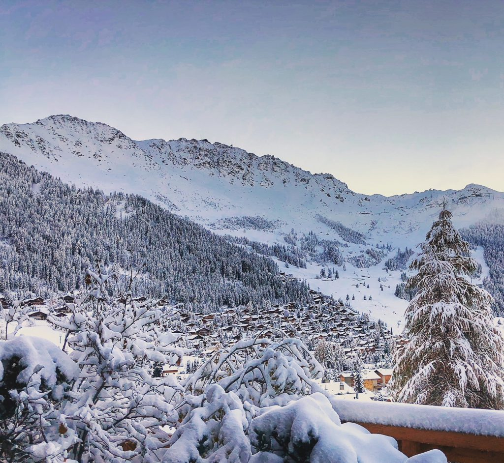 Early season snow in Verbier seen from a chalet overlooking the popular ski resort
