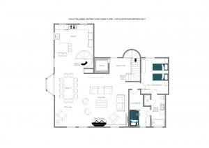 Chalet Delormes - Living floor (2nd floor)  Floorplan