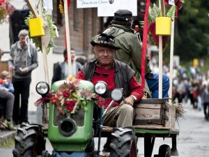 Man driving tractor at Swiss festival
