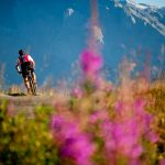 Cyclist in front of sunny mountains