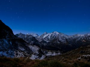 mountain sky line under starry sky