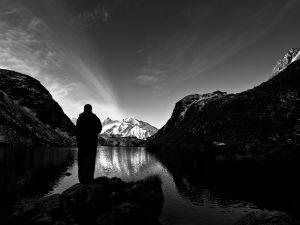 Man standing by Lac de Louvie