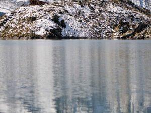Mountains reflected in Lac de Louvie