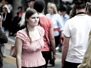 Woman in crowd at Verbier Raclette Festival