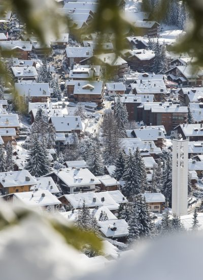 Snow-covered chalets in Swiss alps