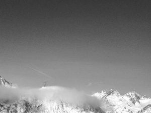 Clouds surround mountain peaks in St Anton