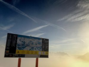 St Anton Ski map in front of early morning sky