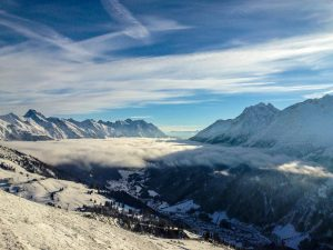 Low lying clouds over St Anton