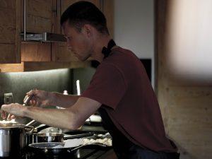 Chef creating wild mushroom gnocchi